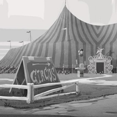 Artes de Armand Serrano para o filme Animal Crackers (Magical Circus)