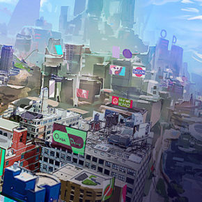Artes do game Sunset Overdrive, da Insomniac, por Vaughan Lin